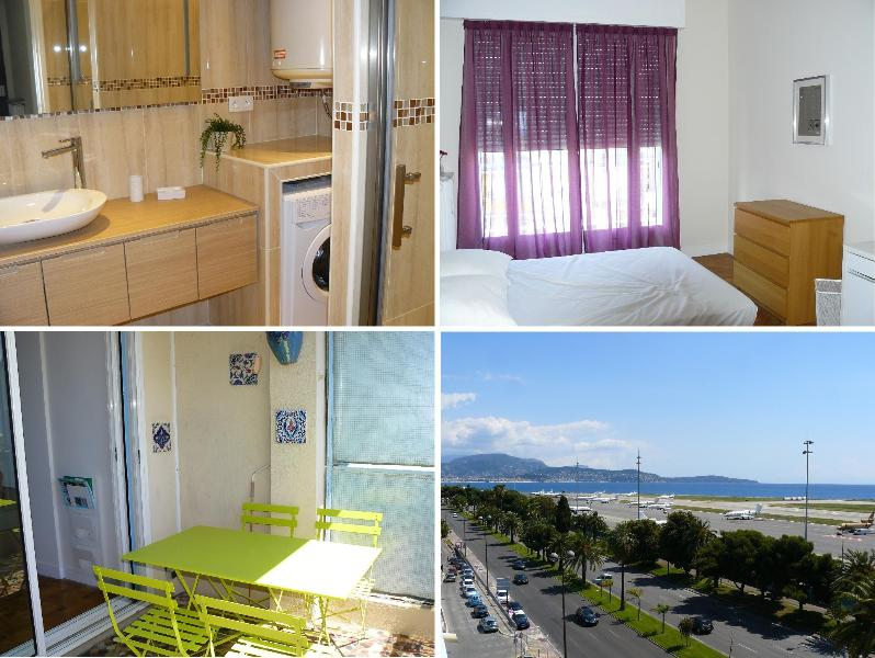 bathroom, room 1, terrace, view on the Promenade des Anglais