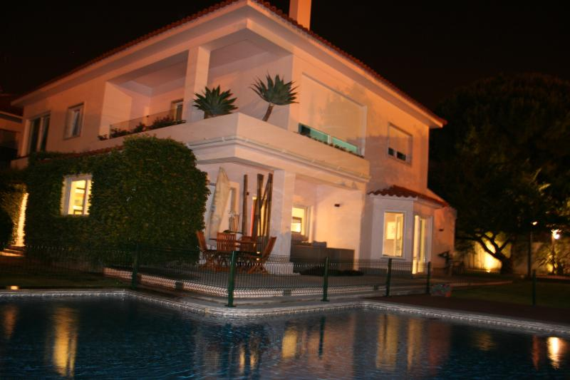 Night view of the Villa with swimming pool