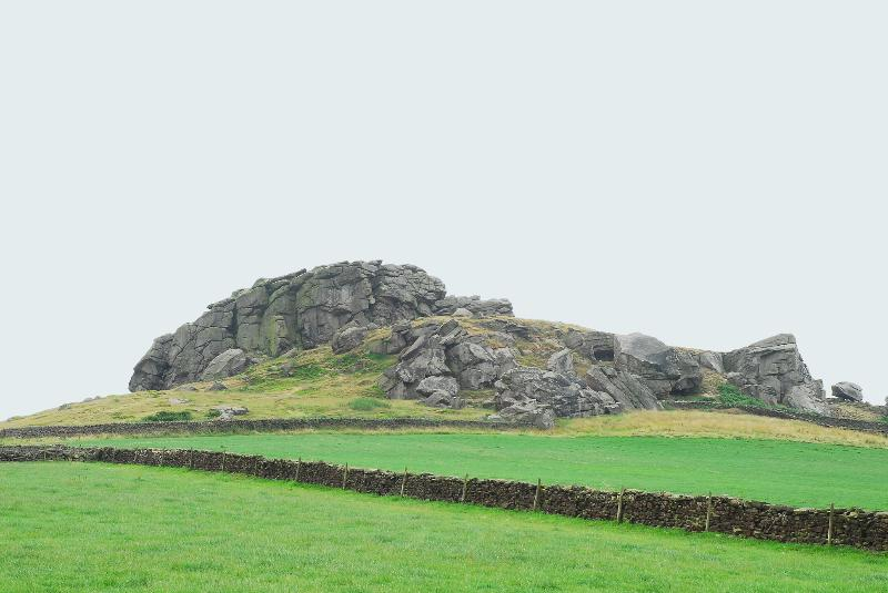 Almscliffe Crag - A rocky outcrop of Millstone Grit, popular with climbers