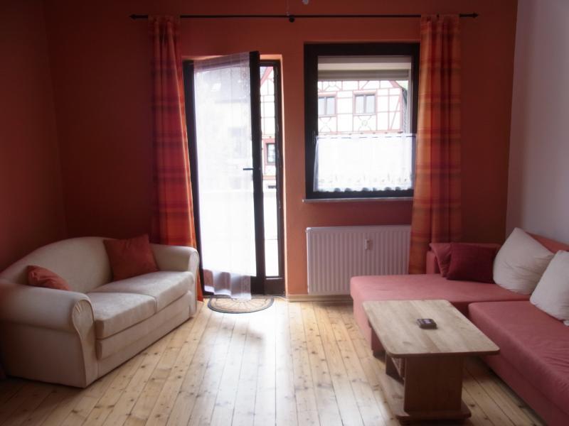 Living room with door to 20m² balcony
