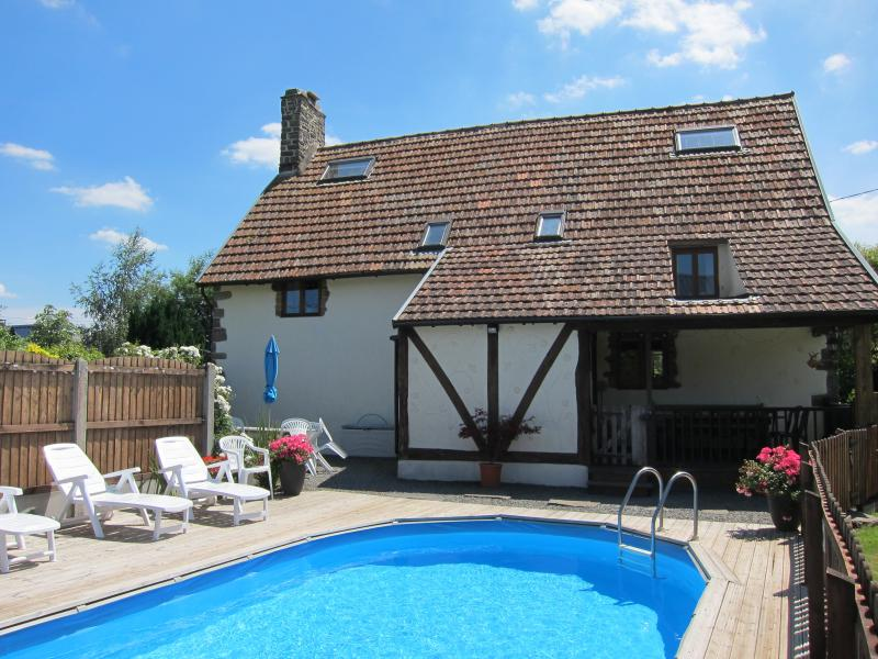 Rear view of Le Fresne with private solar heated pool
