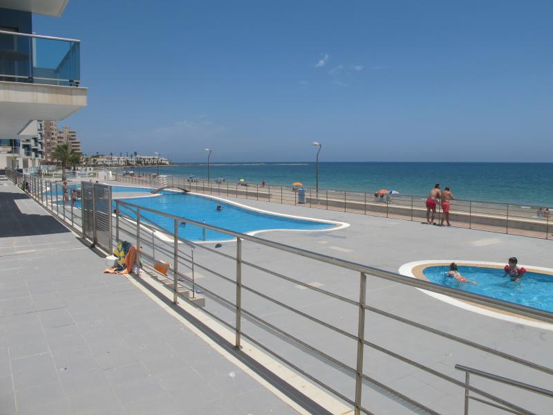 Espectacular piscina que se continúa visualmente con el mar