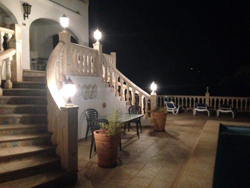 Lower terrace at night