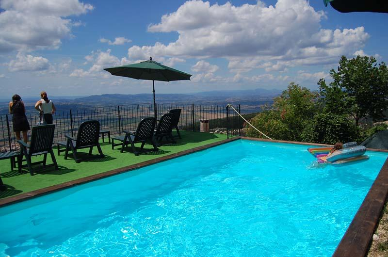 the  private pool terrace and the amazing wiew on Umbria country side