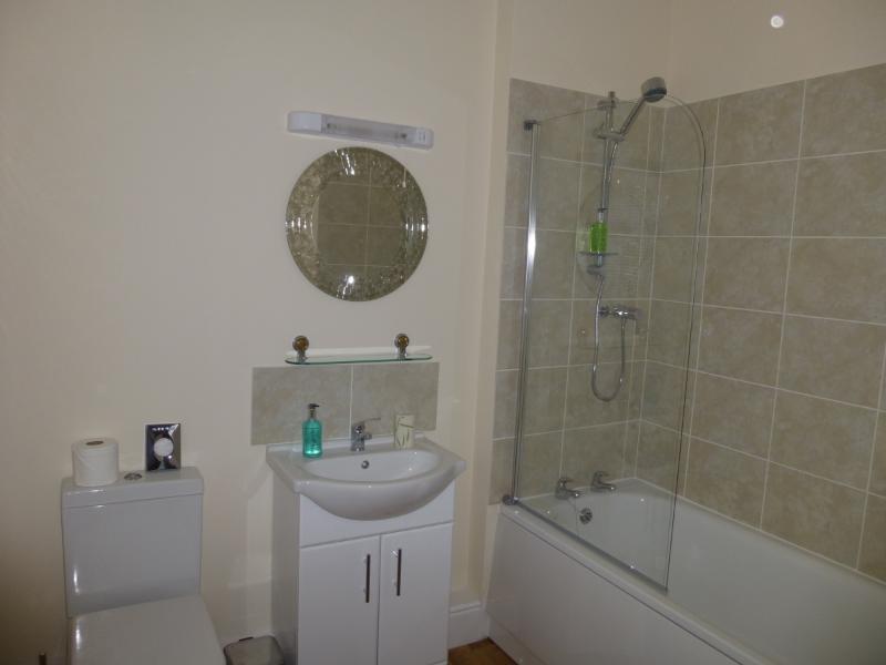 A typical bathroom with bath