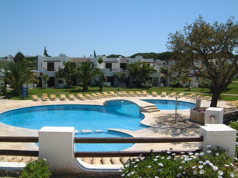 The pool in front of the villa
