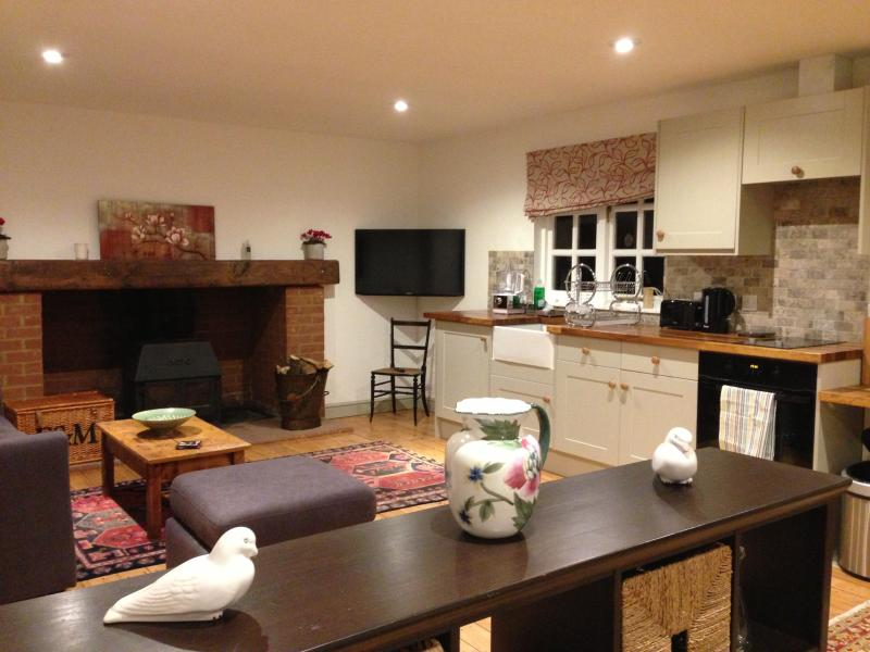 The open plan living room towards the kitchen area