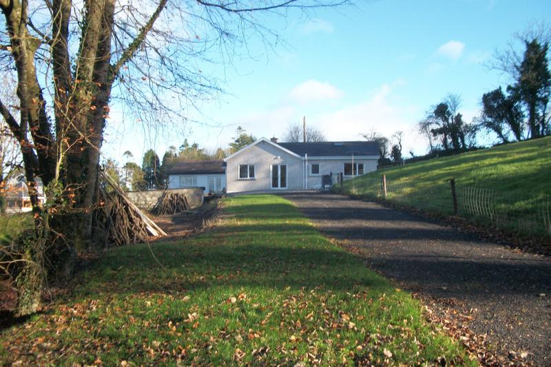 Jardin et allée au cottage, vue latérale