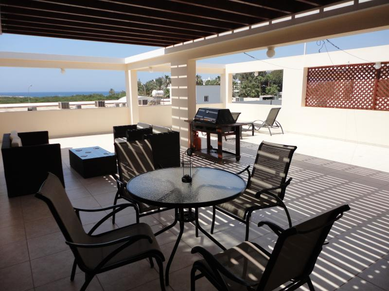 Huge Private Shaded Terrace with Barbecue, Dining Table and 4 Chairs, Patio Furniture and 2 Sun Beds