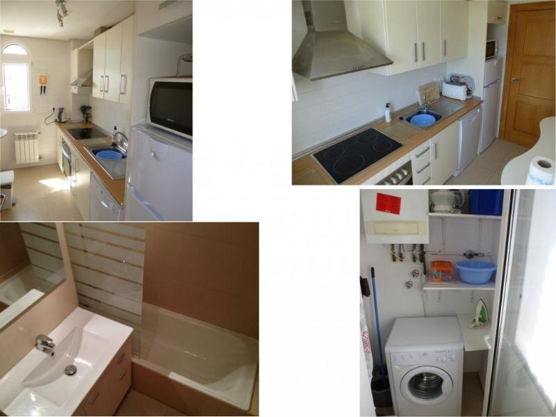 Combined photo of kitchen, bathroom and laundry areas