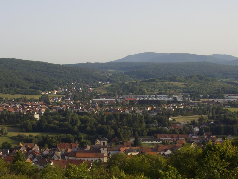 Dinsheim looking south from the top of the village (Mont Sainte Odile on the horizon)