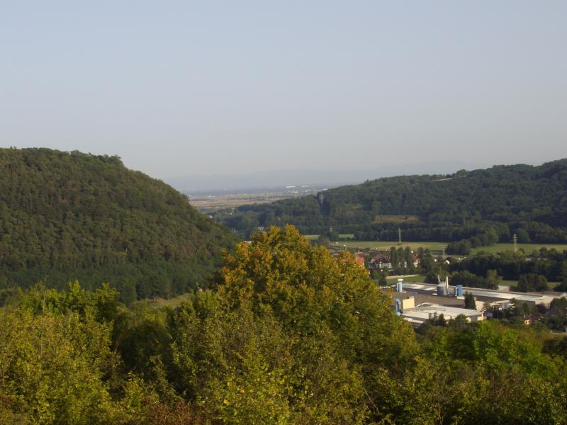 View from the top of the village to the entrance of the Valley of the Bruche on full of Alsa