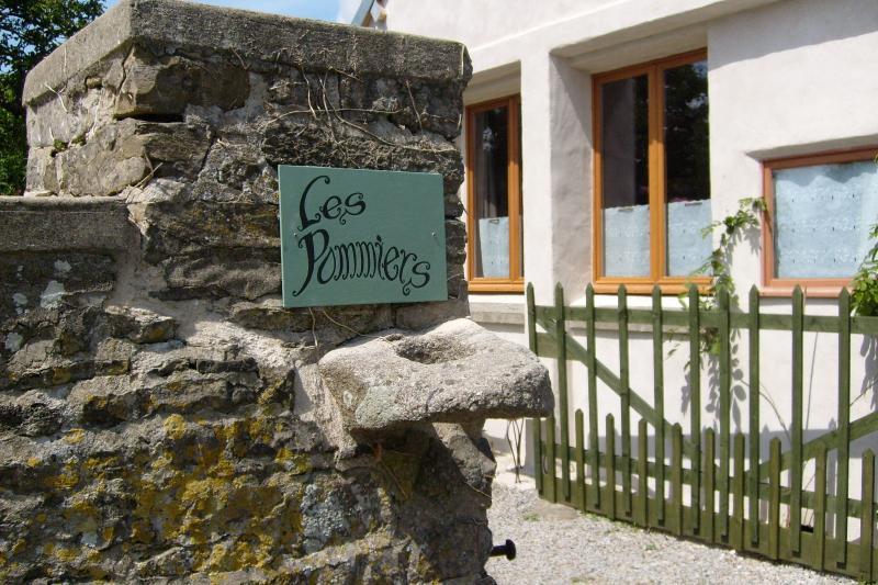 l'entrée bordée de muret en pierre avec glycine et rosiers