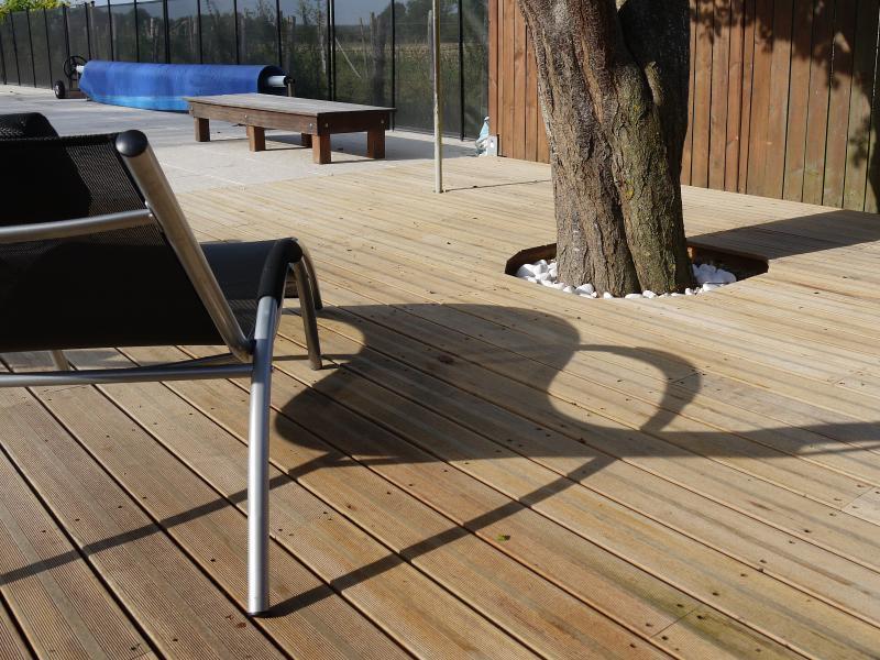 Deux grandes zones de terrasses avec chaises longues confortables.