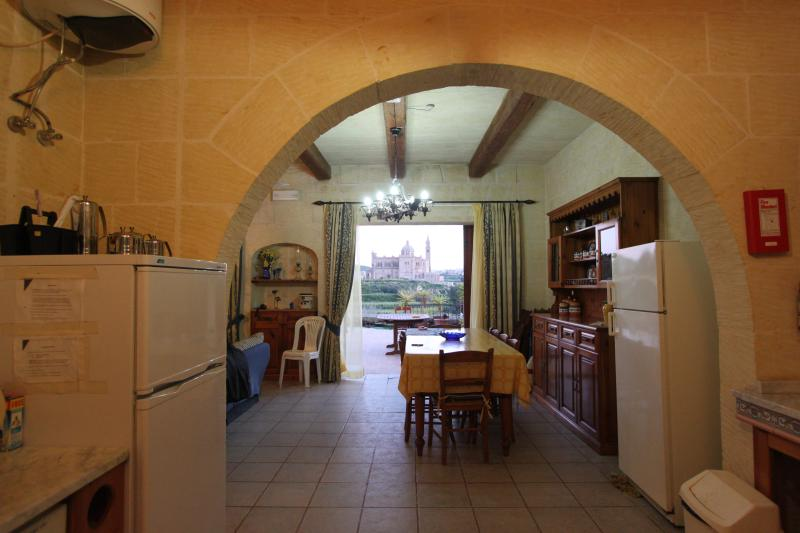 Ta' Pinu Sanctuary and Dining Room from Kitchen