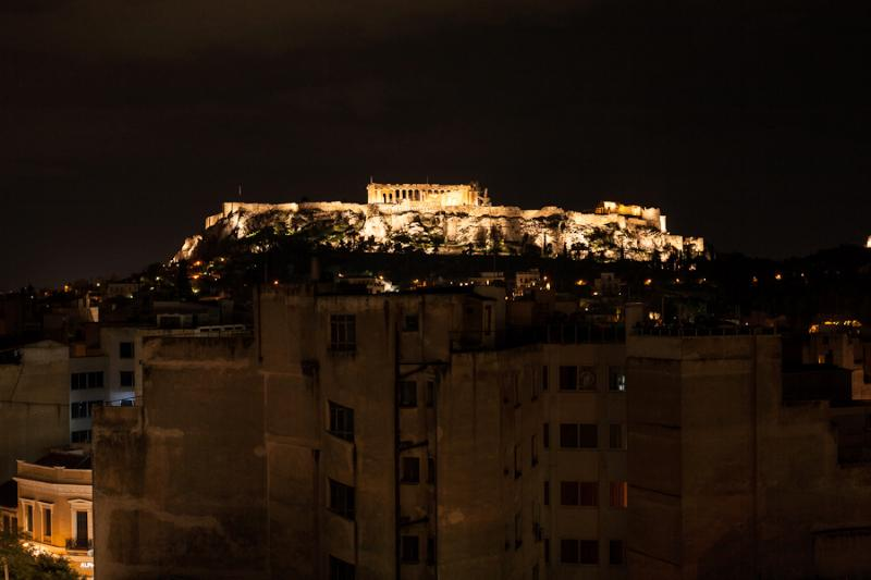 Acropolis at night from our roof top terrace