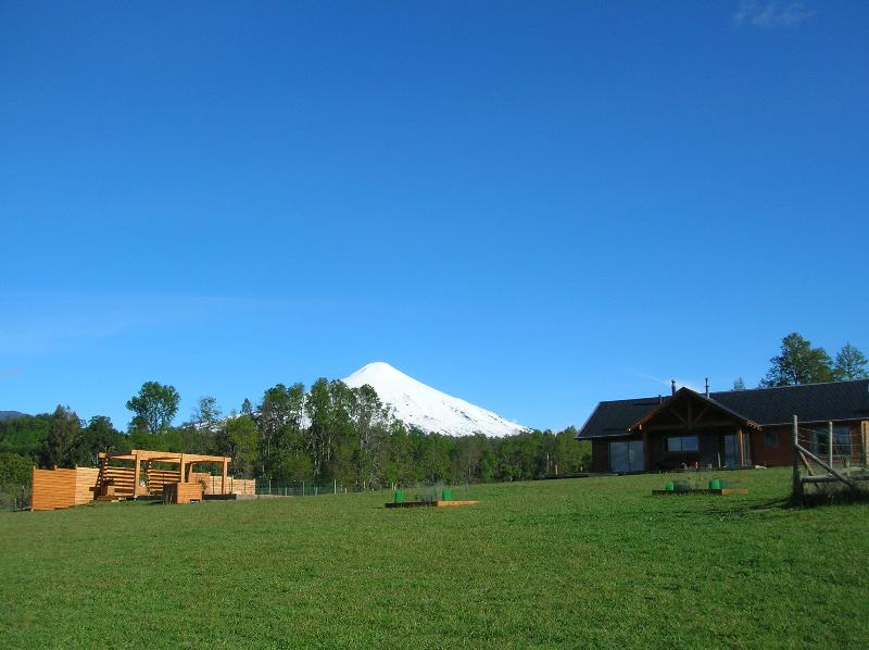 House and Villarrica volcano