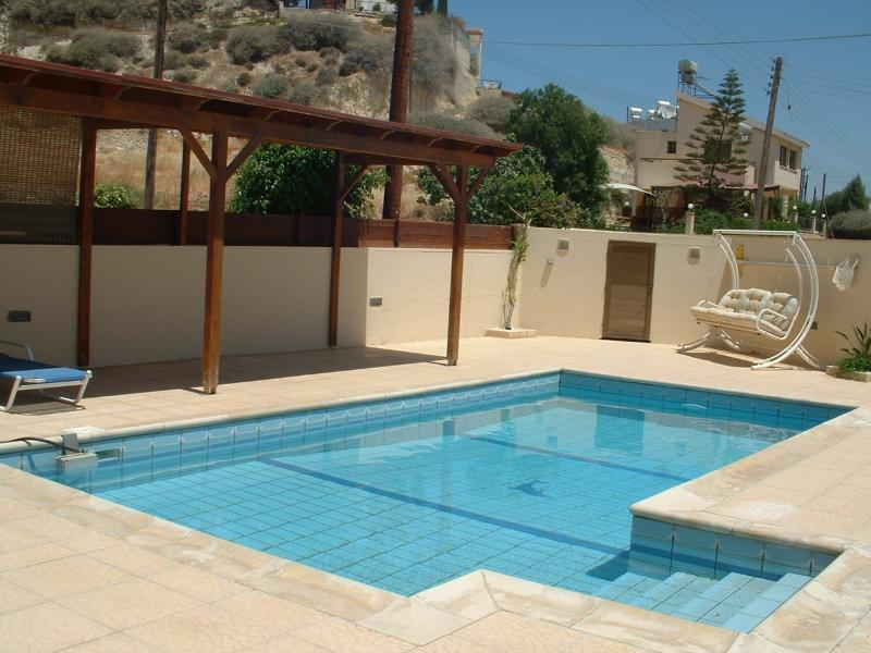 Private pool with shaded area