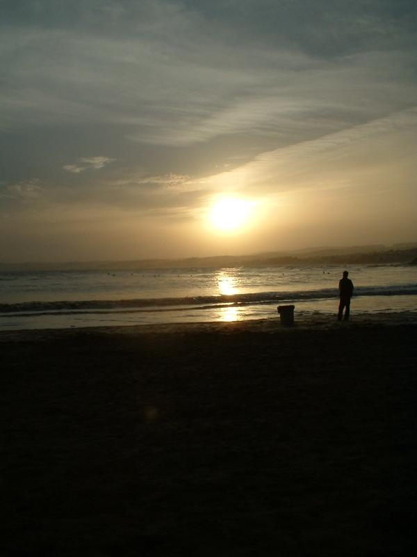 Dusk and people are still swimmiing ! Cristo Beach, Estepona - wonderful for families.