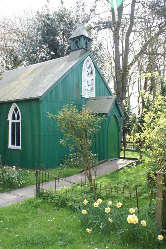 St Peter's Church next to Churchside, a 'tin tabanacle' church built in 1885.