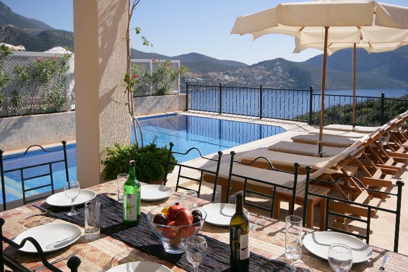 La terraza cubierta y piscina privada