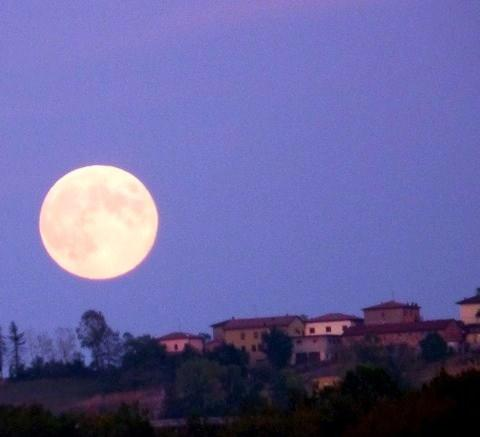 Harvest moon; the night sky offers stars and planets, the milky way, shooting stars in August....