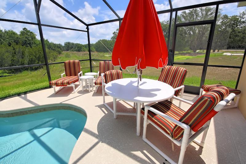 Deck area with patio furniture