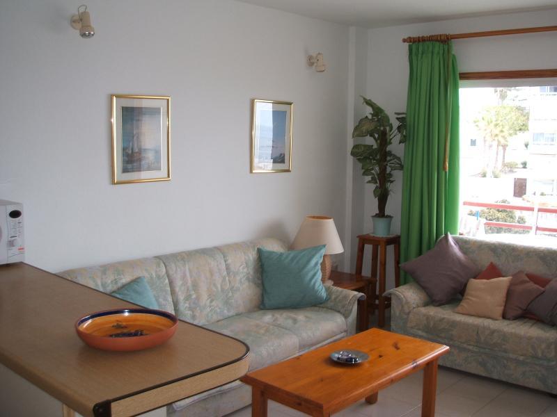 Sala de estar llevando a soleado balcón con magníficas vistas