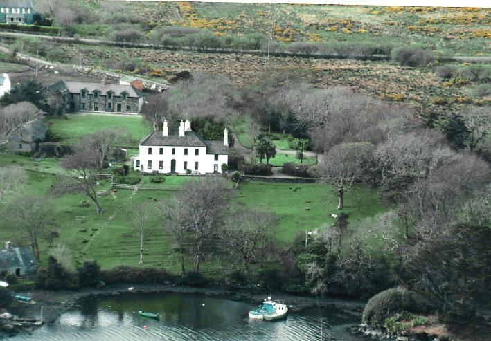 Aerial winterview of Westcove House and  The Stables tken in winter a long time ago!