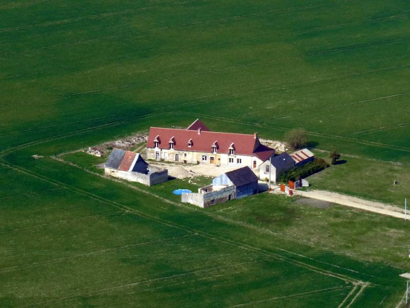 An aerial view of the property taken in 2009, shows the surrounding fields. Peace and quiet!