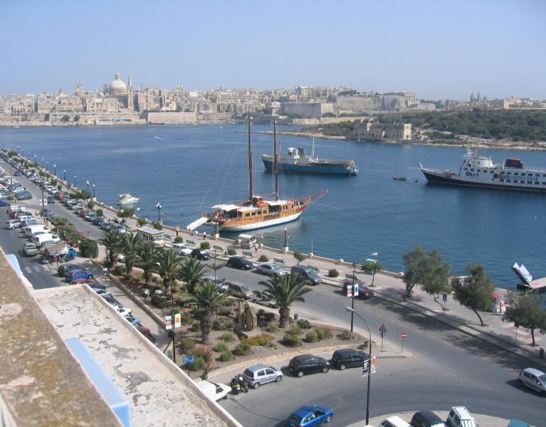 Sliema front view from apartment roof terrace
