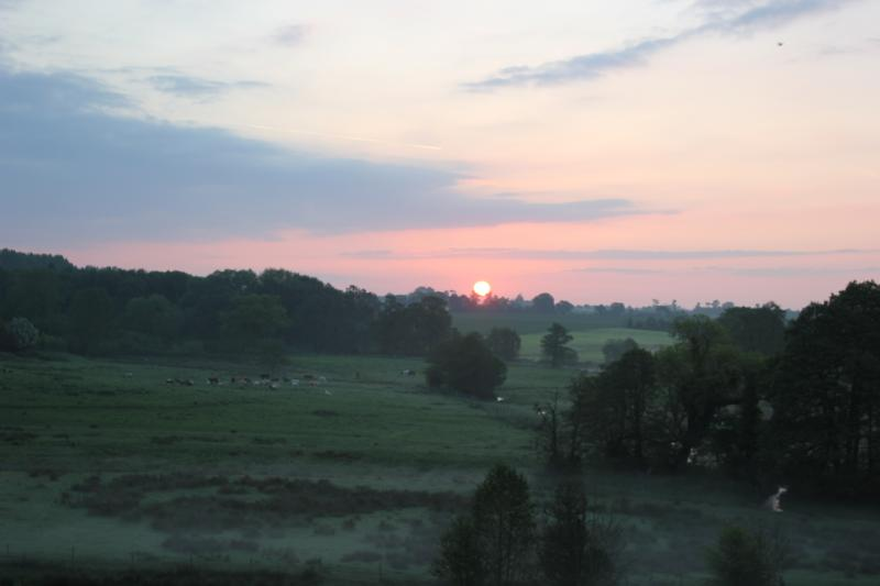 View from cottage of sunrise