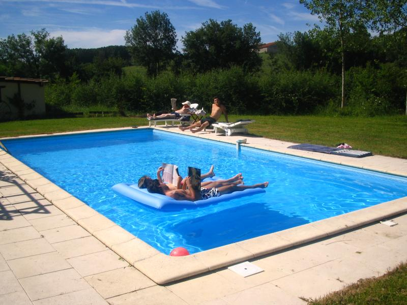 Pool area with 6 sun loungers , cushions and 2 parasols
