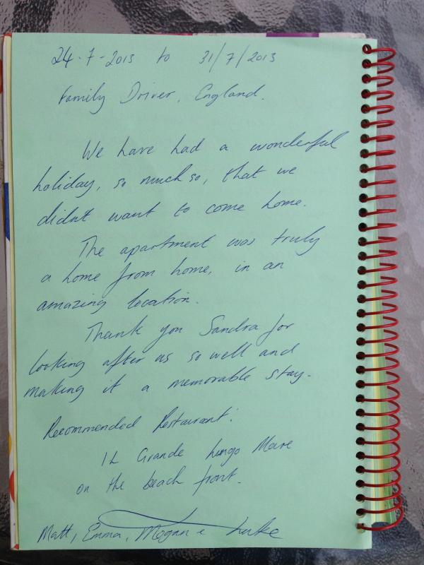 Guestbook testimonals
