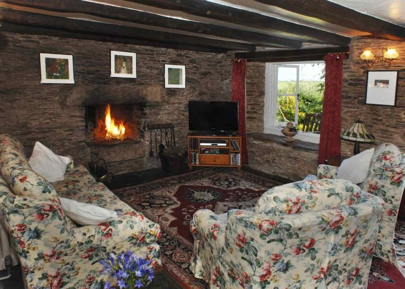Blanches Cottage sitting room with open fire