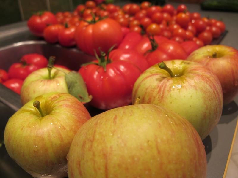 Our home grown fruit and veg usually available for you to buy