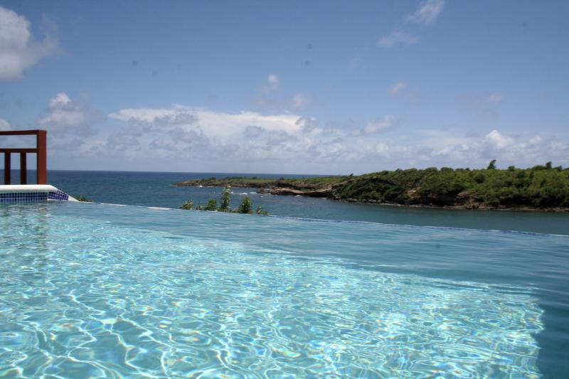 The infinity pool overlooks Crochu Bay and the ocean