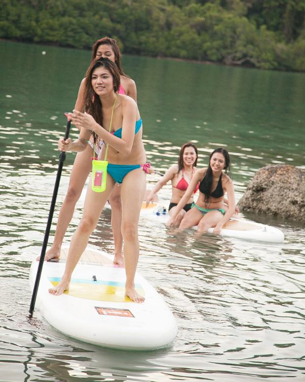 Paddle boarding off the beach