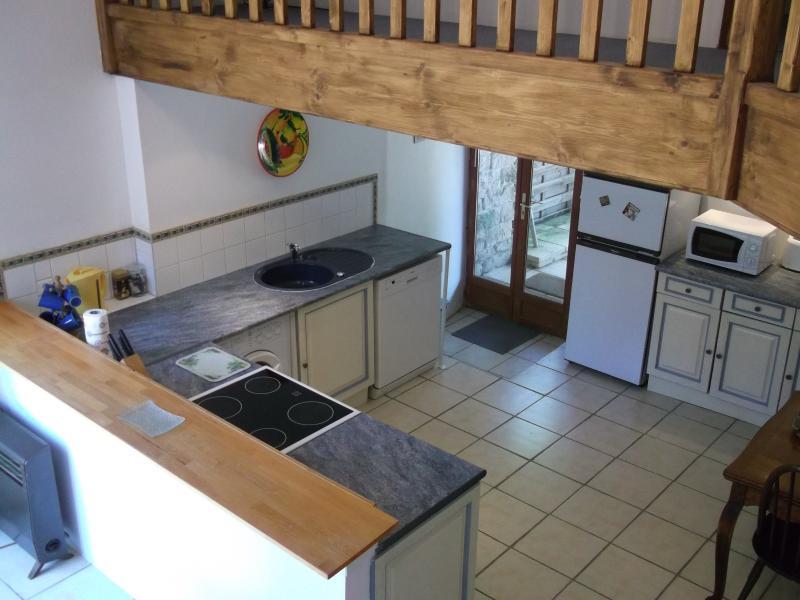 The gite kitchen from the mezzanine floor