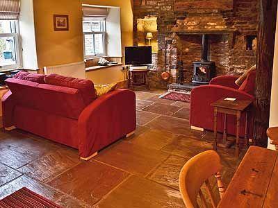 Abierto Plan Living comedor con piso de piedra tradicional