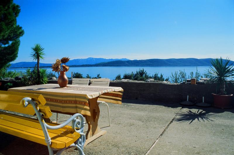 Large terrace with an amazing sea-view of island Hvar and peninsula Pelješac