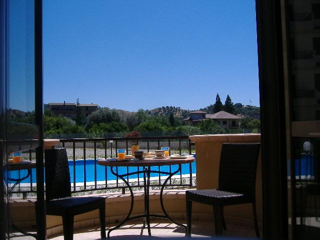 Lovely pool view from one of the three balconies.