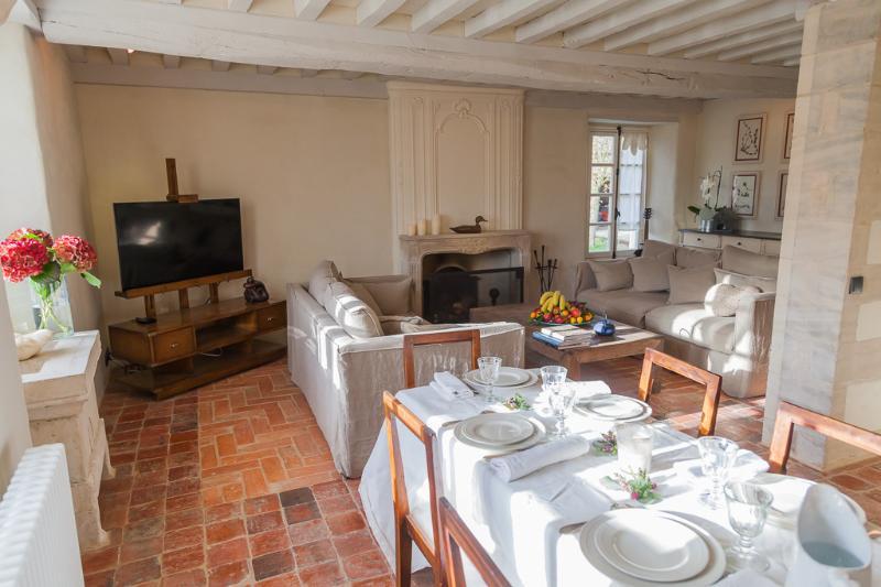 Le confortable salon avec canapés, cheminée, table pour les repas et TV HD