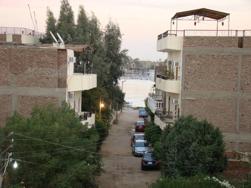 Uitzicht vanaf onze straat naar de Nijl