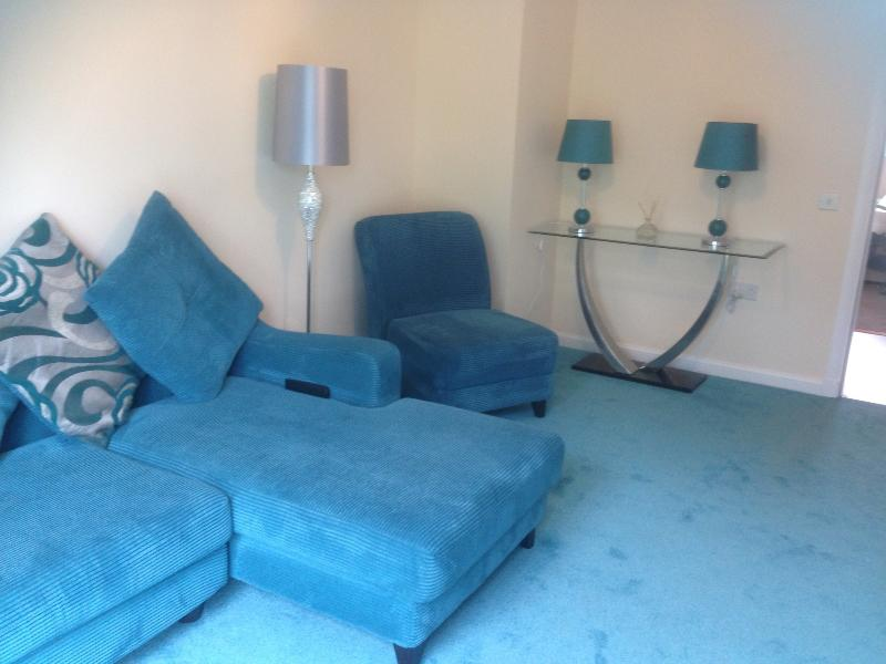 Lovely bright and airy spacious modern lounge with wall hung large freeview TV
