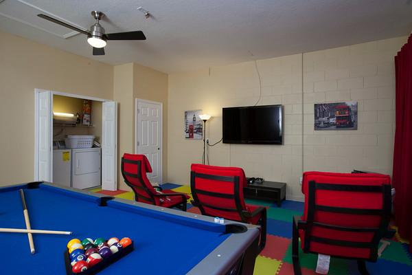 The garage has been converted into a games room with PS3.