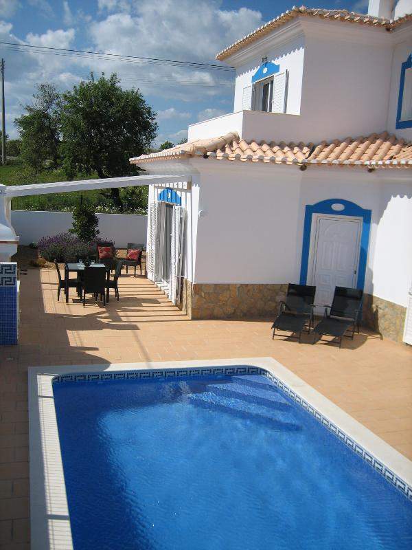 private pool with shower, BBQ & shaded area