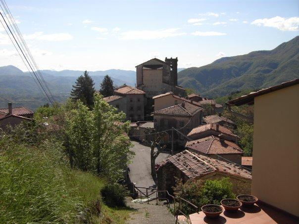 View of Brucciano Village from the top of the private garden.