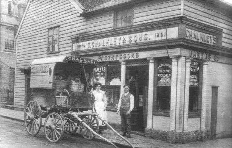 Historic Old Bakery - Mr and Mrs Chalkley the bakers with their delivery cart