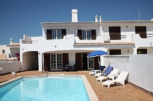 Front of villa, with two upstairs terraces and private pool